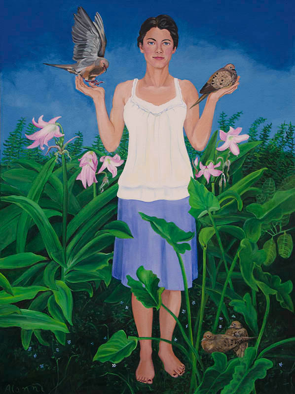 """""""A Bird in the Hand is Worth Two in the Bush"""" The painting depicts a woman with a relaxed expression, standing in a garden of ferns and lilies, forget-me-nots at her feet. She holds two morning doves, one in each palm with two identical birds perched beside her.  Dimensions 36"""" by 48"""". Acrylic on canvas"""