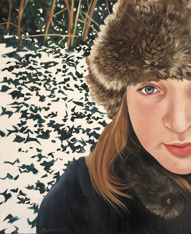 alanni oil painting portrait of a young woman in a winter scene