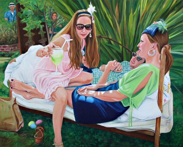 """I Went to a Garden Party"", is a narrative painting that I completed in October of 2014. The subject matter is of a friend's annual adult Easter Egg hunt and party. I worked from a number of cell phone images to get my composition. This is an oil painting on canvas, 24"" by 30"""