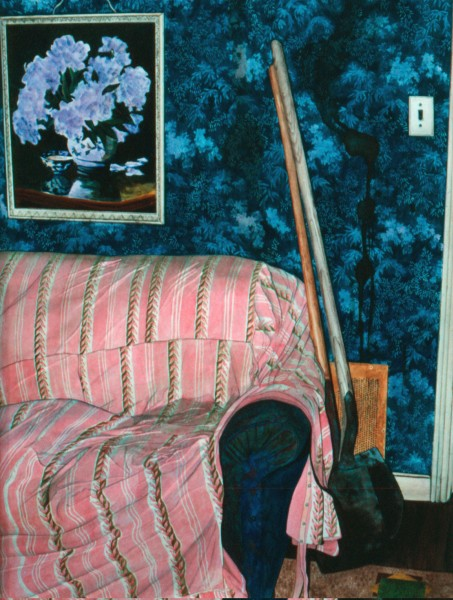 """Incriminating Evidence"", (couch & shovels) 14"" X 21"", Watercolor from the Household Crime Series"