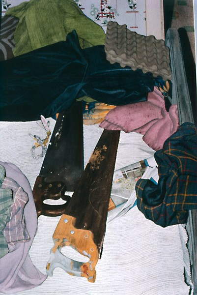 """Aiding and Abetting"", (saws on bed), 18"" X 26"", Watercolor from the Household Crime Series"