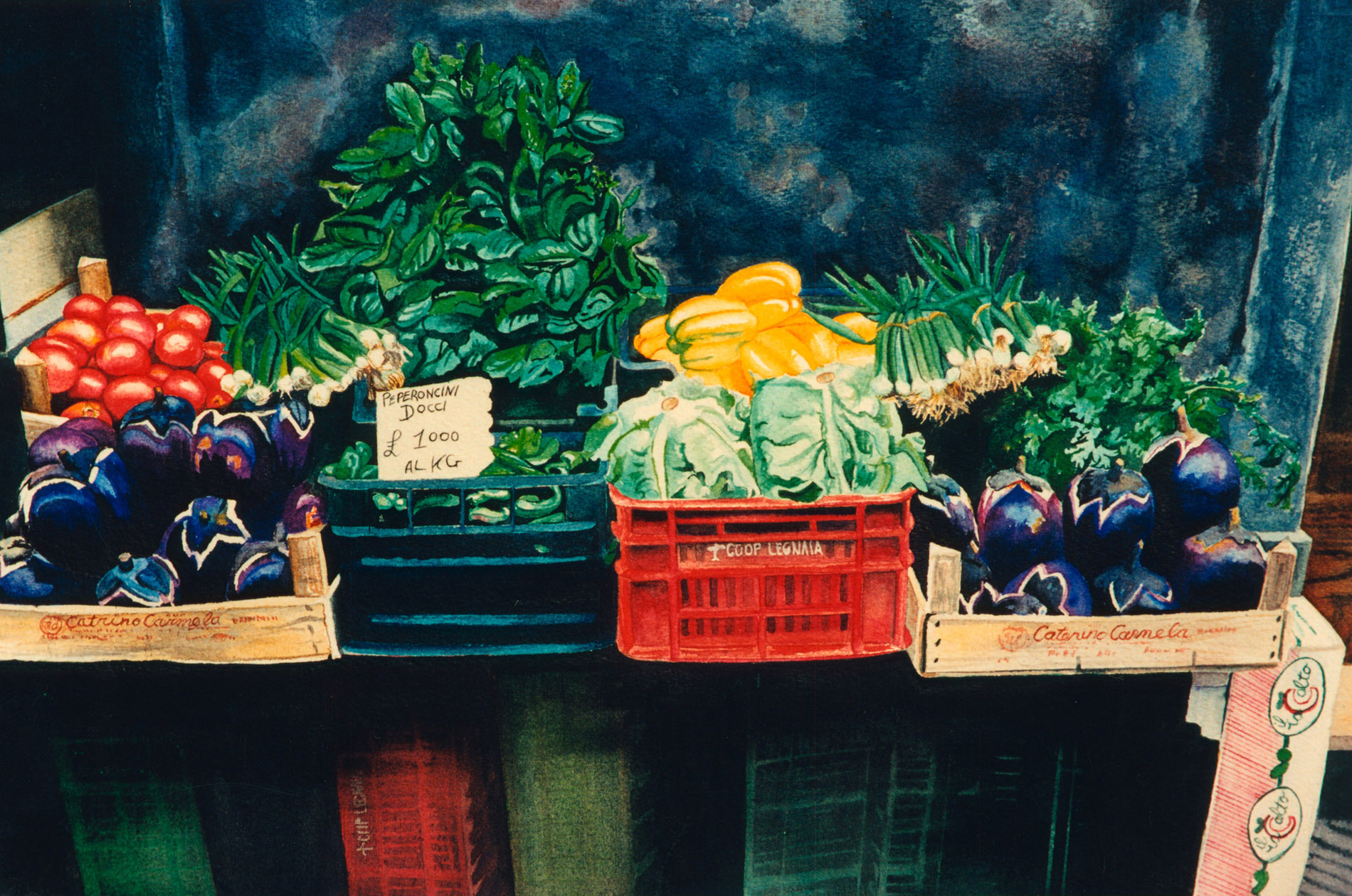 italian framer's market vegetable stand watercolor