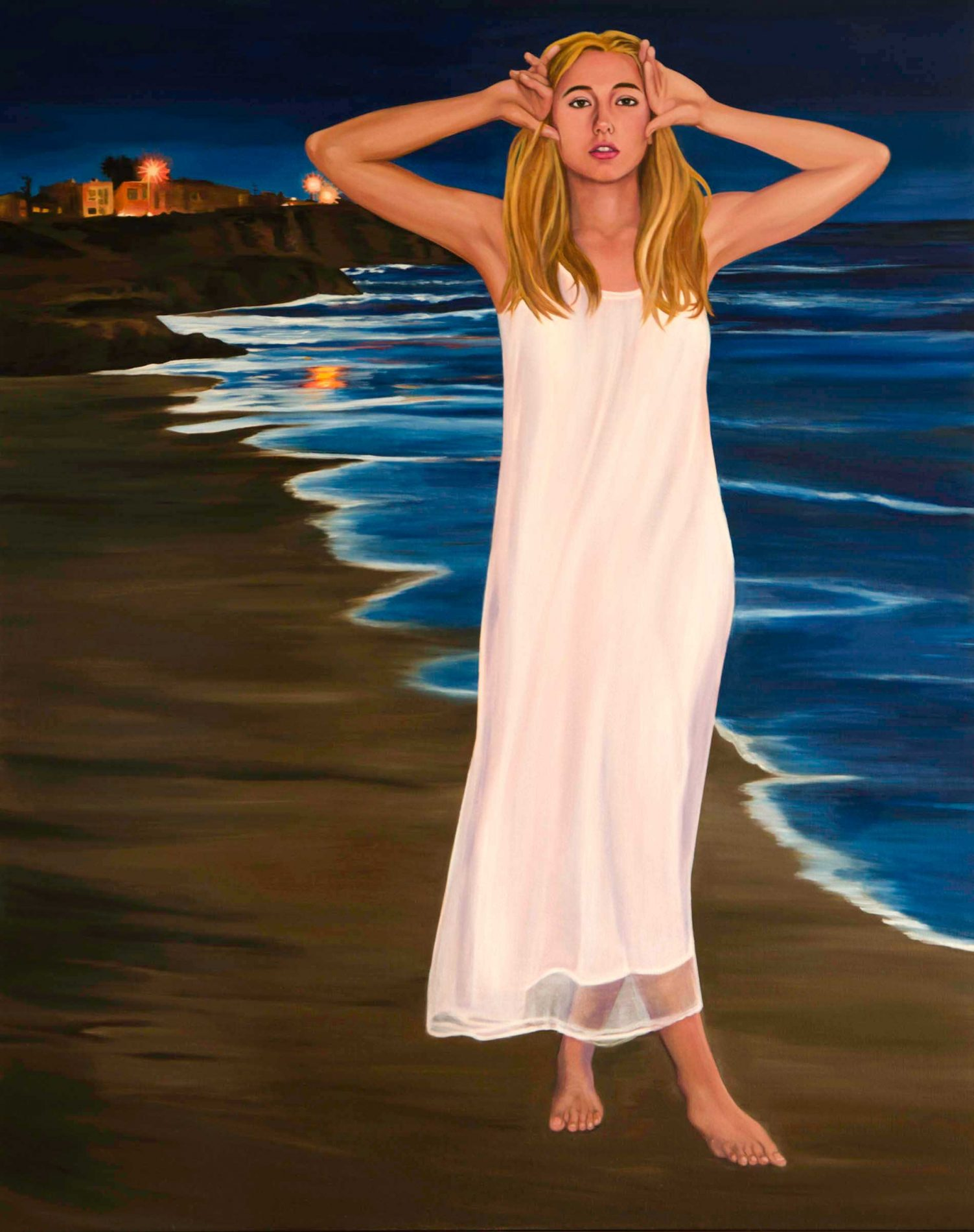 woman in nightgown on mitchell's cove santa cruz