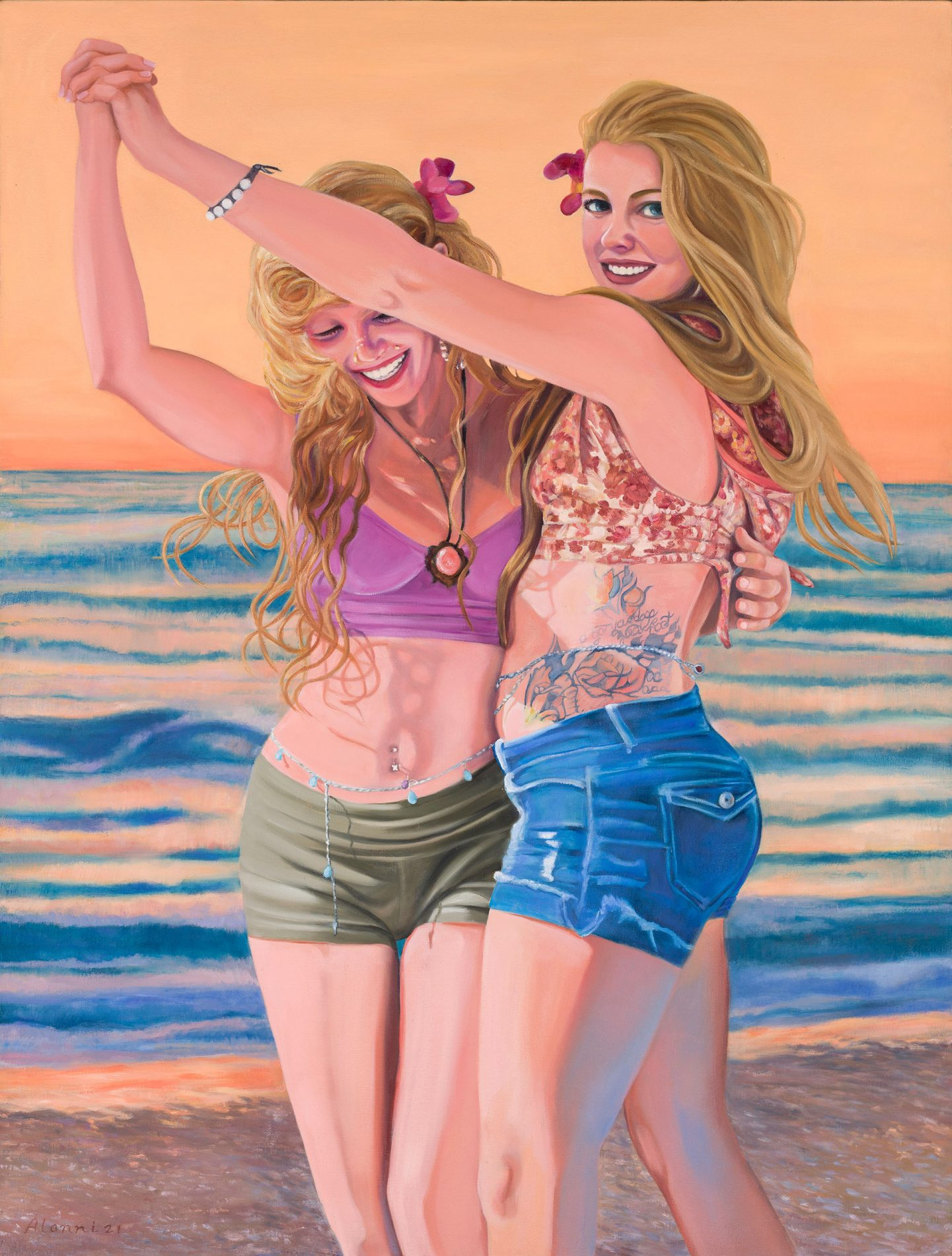 two young women dancing on the beach